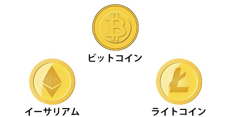 3種類の仮想通貨